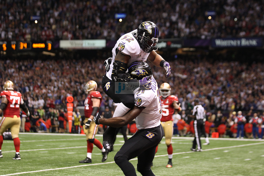 Ray Lewis (52) of the Baltimore Ravens celebrates against the San Francisco 49ers during the NFL Super Bowl XLVII football game in New Orleans on Feb. 3, 2013. The Ravens won the game, 34-31.  (Photo by Jed Jacobsohn)