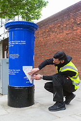 """""""Today, Royal Mail unveils a special edition postbox -<br /> created in collaboration with the International Cricket Council – outside Lord's<br /> Cricket Ground in London. To mark the launch of the ICC Cricket World Cup<br /> this week, the Company has decorated postboxes across the UK in each host<br /> city for the tournament, in honour of the quintessentially British game. The<br /> postboxes are located in London, Manchester, Nottingham, Chester-Le-<br /> Street, Cardiff, Bristol, Southampton, Birmingham, Taunton and Leeds, and<br /> will be transformed for the duration of the tournament."""". Lords Cricket Ground, London, May 28 2019."""