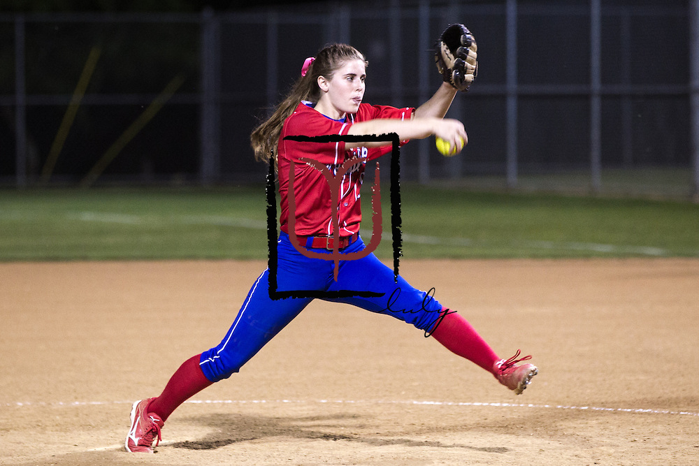 Westlake pitcher Lindsey McLeod hurls the ball to a Cedar Ridge batter Thursday at Noack Field in Austin.  The Raiders beat the Chaps 2-0.(LOURDES M SHOAF for Round Rock Leader.)