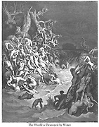 The World Destroyed by Water Genesis 7:24 From the book 'Bible Gallery' Illustrated by Gustave Dore with Memoir of Doré and Descriptive Letter-press by Talbot W. Chambers D.D. Published by Cassell & Company Limited in London and simultaneously by Mame in Tours, France in 1866