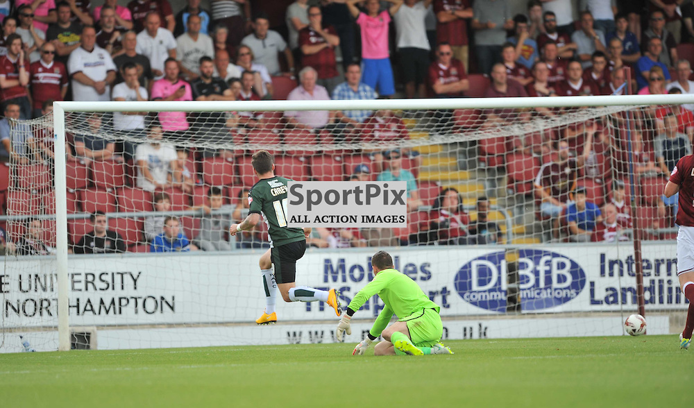 Northampton Town v Plymouth Argyle, Sky Bet League 2, Plymouths Graham Carey fires in Plymouths First Gpal at Northampton, Saturday 22/8/2015