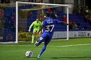 AFC Wimbledon defender Paul Osew (37) with a shot on goal during the Leasing.com EFL Trophy match between AFC Wimbledon and Leyton Orient at the Cherry Red Records Stadium, Kingston, England on 8 October 2019.