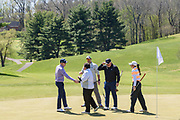 Justin Thomas greets players at the 18th green as he hosts the Strategic Communications/Justin Thomas Junior Championship presented by Phocus at Harmony Landing Country Club Friday, April 20, 2018, in Goshen, Ky. (Photo by Brian Bohannon)