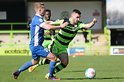 Forest Green Rovers midfielder Charlie Cooper (20) on the attack 0-1 during the Vanarama National League match between Forest Green Rovers and North Ferriby United at the New Lawn, Forest Green, United Kingdom on 1 April 2017. Photo by Alan Franklin.