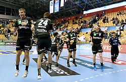Bjarte Myrhol (#18) of RNL and Patrick Groetzki (#24) of RNL celebrate after winning the Velux EHL Champions league 2010/2011 Group A men handball match between HC Celje Pivovarna Lasko of Slovenia and Rhein-Neckar Loewen of Germany, on October 2, 2010 in Arena Zlatorog, Celje, Slovenia. Rhein-Neckar Löwen defeated Celje Pivovarna Lasko 32 - 28. (Photo By Vid Ponikvar / Sportida.com)