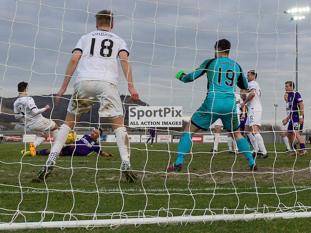 Dumbarton v Hibernian   SPFL season 2015-2016  <br /> <br /> Farid El Alagui (Hibernian) scores Hibs second goal during the Ladbrokes Championship match between Dumbarton v Hibernian at Cheaper Insurance Direct Stadium on 27 February 2016<br /> <br /> Picture: Alan Rennie