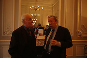 Tony Benn and Anthony Howard. 80th birthday celebration for Tony Benn given by his publisher, Hutchinson. Foreign Press Association. 5 April 2005. ONE TIME USE ONLY - DO NOT ARCHIVE  © Copyright Photograph by Dafydd Jones 66 Stockwell Park Rd. London SW9 0DA Tel 020 7733 0108 www.dafjones.com