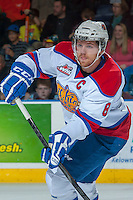 KELOWNA, CANADA - NOVEMBER 9: Griffin Reinhart #8 of the Edmonton Oil Kings makes a pass against the Kelowna Rockets on November 9, 2013 at Prospera Place in Kelowna, British Columbia, Canada. Reinhart is a 2012 NHL entry draft pick of the New York Islanders.  (Photo by Marissa Baecker/Shoot the Breeze)  ***  Local Caption  ***
