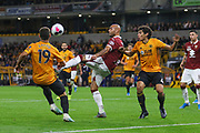 Simone Zaza of Torino & Jesús Vallejo of Wolverhampton Wanderers during the Europa League play off leg 2 of 2 match between Wolverhampton Wanderers and Torino at Molineux, Wolverhampton, England on 29 August 2019.