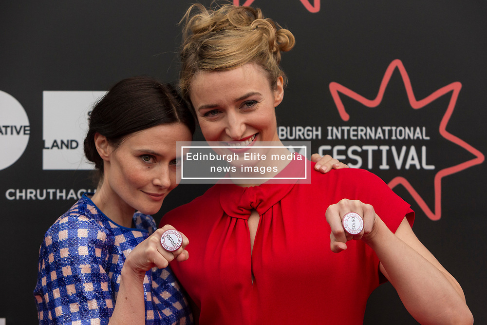 Photo-opportunity for The Dark Mile directed by Gary Love at the Edinburgh International Film Festival<br /> <br /> Pictured: Rebecca Calder, Deirdre Mullins