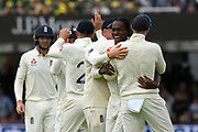 Wicket - Jofra Archer of England celebrates taking the wicket of David Warner of Australia during the International Test Match 2019 match between England and Australia at Lord's Cricket Ground, St John's Wood, United Kingdom on 18 August 2019.
