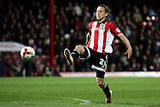 Brentford striker, Lasse Vibe (21) missing a through ball during the Sky Bet Championship match between Brentford and Cardiff City at Griffin Park, London, England on 19 April 2016. Photo by Matthew Redman.