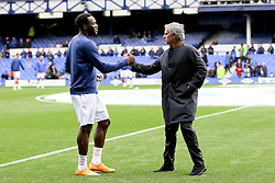 Everton's Romelu Lukaku shakes hands with former manager Jose Mourinho before the game  - Mandatory byline: Matt McNulty/JMP - 07966386802 - 12/09/2015 - FOOTBALL - Goodison Park -Everton,England - Everton v Chelsea - Barclays Premier League