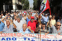 October 3, 2016 - Athens, Greece - Elderly people chant slogans during anti-austerity protest against pension cuts in central Athens near the prime minister's office. (Credit Image: © Aristidis Vafeiadakis via ZUMA Wire)
