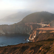 Bixby Bridge is seen at sunset from Hurricane Point. Big Sur, CA