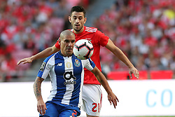 October 7, 2018 - Lisbon, Portugal - Porto's Argentine defender Maxi Pereira vies with Benfica's Portuguese midfielder Pizzi during the Portuguese League football match SL Benfica vs FC Porto at the Luz stadium in Lisbon on October 7, 2018. (Credit Image: © Pedro Fiuza/ZUMA Wire)
