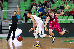 Blaz Mahkovic of Union Olimpija and Florian Koch of Telekom Baskets Bonn during basketball match between KK Union Olimpija Ljubljana and Telekom Baskets Bonn (GER) in Round 3 of EuroCup 2015/16, on October 28, 2015 in Arena Stozice, Ljubljana, Slovenia. Photo by Matic Klansek Velej / Sportida.com