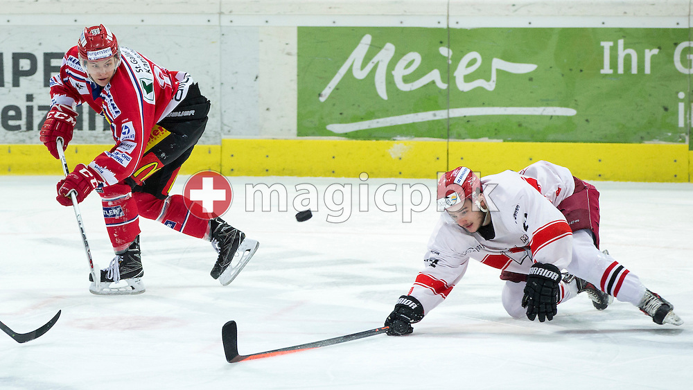 Rapperswil-Jona Lakers forward Cedric Sieber (L) against EHC Visp forward Mathias Cifelli during the third Elite B 1/2 final Playoff ice hockey game between Rapperswil-Jona Lakers and EHC Visp held at the SGKB Arena in Rapperswil, Switzerland, Friday, Mar. 3, 2017. (Photo by Patrick B. Kraemer / MAGICPBK)