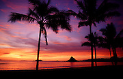 Sunrise, Kualoa Beach Park, Chinamans Hat, Oahu, Hawaii