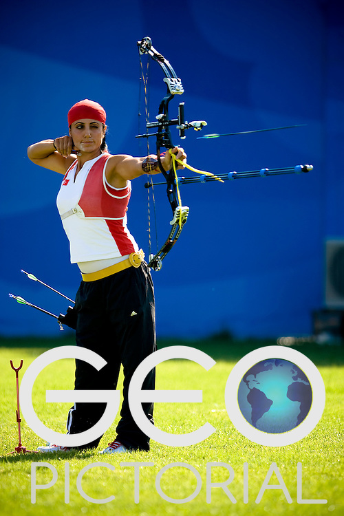 Gulbin Su of Turkey releases her arrow in the Women's R.ST Archery competition on Day 5 of the Beijing 2008 Paralympic Games in Beijing, China on the 11th September 2008;