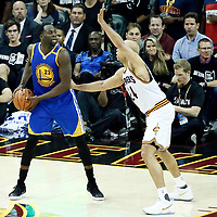 09 June 2017: Cleveland Cavaliers forward Richard Jefferson (24) defends on Golden State Warriors forward Draymond Green (23) during the Cleveland Cavaliers 137-11 victory over the Golden State Warriors, in game 4 of the 2017 NBA Finals, at  the Quicken Loans Arena, Cleveland, Ohio, USA.