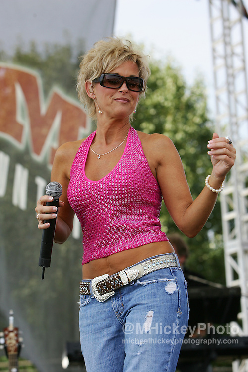 Recording Lorrie Morgan performs at the Allstate 400 at the Brickyard at the Indianapolis Motor Speedway on Aug 6, 2006. Photo by Michael Hickey