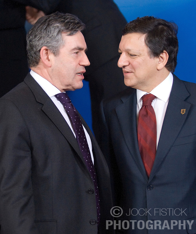 "BRUSSELS, BELGIUM - MARCH-13-2008 - Gordon Brown, Prime Minister of Great Britain, left, speaks with Jose Manuel Barroso, President of the European Commission, as European heads of state gather for the  ""Family Photo"" during the European Summit, in Brussels, Belgium, Thursday, March 13, 2008.  (Photo  © Jock Fistick)"