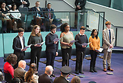 Holocaust Memorial Day <br /> A ceremony to commemorate Holocaust Memorial Day in a ceremony in the Chamber at City Hall, London, Great Britain<br /> 22nd January 2018 <br /> <br />  <br /> Statement of Commitment read by Holocaust Education Trust Ambassadors