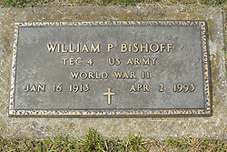 31 August 2017:   Veterans graves in Park Hill Cemetery in eastern McLean County.<br /> <br /> William P Bishoff  TEC4 US Army World War II Jan 16 1913  Apr 2 1993