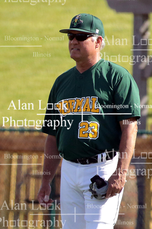 28 May 2017: Ryne Sandberg steps in as an assistant coach during a Frontier League Baseball game between the Lake Erie Crushers and the Normal CornBelters at Corn Crib Stadium on the campus of Heartland Community College in Normal Illinois
