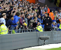 Cardiff City fans don't want to give the ball back to Swansea City's Angel Rangel - Photo mandatory by-line: Joe Meredith/JMP - Tel: Mobile: 07966 386802 03/11/2013 - SPORT - FOOTBALL - The Cardiff City Stadium - Cardiff - Cardiff City v Swansea City - Barclays Premier League