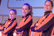 02-06-2015: Nieuws: Presentatie selectie Europese Spelen: Papendal<br /> <br /> (L-R) C&eacute;line van Gerner, Anna van der Breggen, Eef Haaze<br /> <br /> European Games Team NL bestaat tijdens de eerste editie van het evenement in Baku uit 120 topsporters. Zij komen in totaal uit in zeventien sporten en nemen deel aan 24 disciplines. Chef de mission is Jeroen Bijl<br /> <br /> NOVUM COPYRIGHT / ORANGE PICTURES / GERTJAN KOOIJ