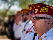 08 OCTOBER 2013 - PHOENIX, AZ: US military veterans stand at attention during a ceremony interring the cremated remains of unclaimed US military veterans at the National Memorial Cemetery in Phoenix. The cremated remains of 36 unclaimed US military veterans were interred at the National Memorial Cemetery in Phoenix. Members of the US military and several hundred veterans of the US military attended the service, which was a part of the Missing In America Project (MIAP).     PHOTO BY JACK KURTZ