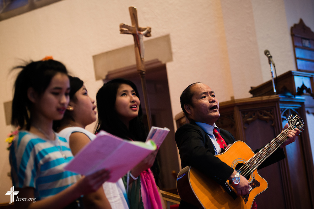 Gagan Gurung (right) leads a group in song after his confirmation on Sunday, Jan. 12, 2014, at Ascension Lutheran Church in St. Louis, Mo. LCMS Communications/Erik M. Lunsford