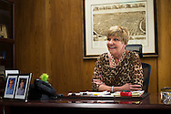 Fort Worth Mayor Betsy Price jokes with a member of her staff in her office at City Hall in Fort Worth, Texas on February 12, 2015.