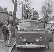 Teenagers with a VW Camper van, West London, UK, 1984