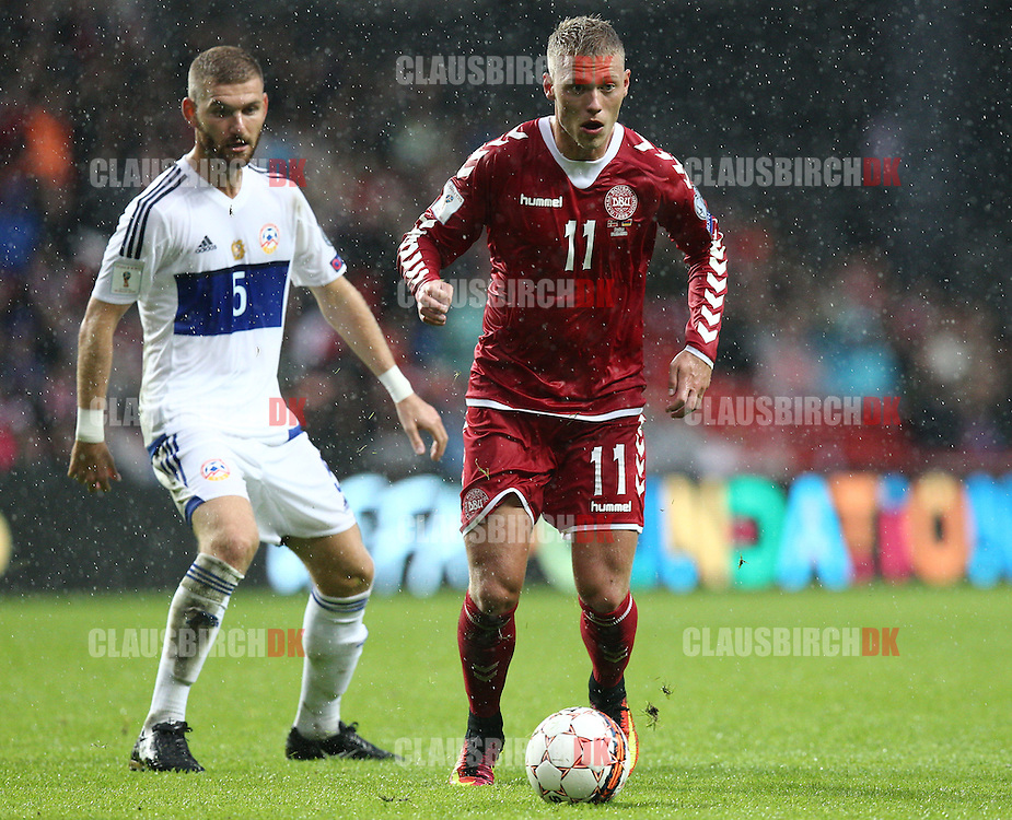 FOOTBALL: Viktor Fischer of Denmark in action with Gael Andonian of Armenia during the FIFA World Cup 2018 Qualifier Group E match between Denmark and Armenia at Parken Stadium on September 4, 2016 in Copenhagen, Denmark. Photo by: Claus Birch / ClausBirch.dk.