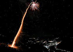 THEMENBILD - eine Silvesterrakete startet in den Nachthimmel, aufgenommen am 31.12.2016 in Aschau // a rocket starts into the clear night sky on New Year´s Eve, Aschau, Austria on 2016/12/31. EXPA Pictures © 2016, PhotoCredit: EXPA/ Jakob Gruber