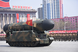 PYONGYANG, April 15, 2017  Missile force of Korean People's Army attend a military parade in central Pyongyang, April 15, 2017. The Democratic People's Republic of Korea (DPRK) Saturday showcased its military muscles by parading all of its most-advanced ballistic and tactic missiles, including a submarine-launched ballistic missile which could strike targets 1000 km away.  wtc) (Credit Image: © Cheng Dayu/Xinhua via ZUMA Wire)