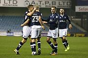 Millwall celebrate their goal scored by George Saville during the EFL Sky Bet Championship match between Millwall and Reading at The Den, London, England on 26 September 2017. Photo by Toyin Oshodi.