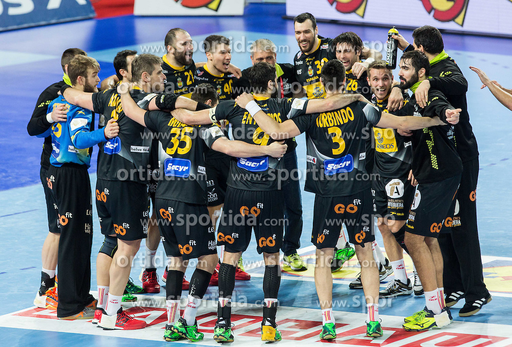 Players of celebrate after winning during handball match between National teams of Spain and Sweden on Day 6 in Preliminary Round of Men's EHF EURO 2016, on January 20, 2016 in Centennial Hall, Wroclaw, Poland. Photo by Vid Ponikvar / Sportida