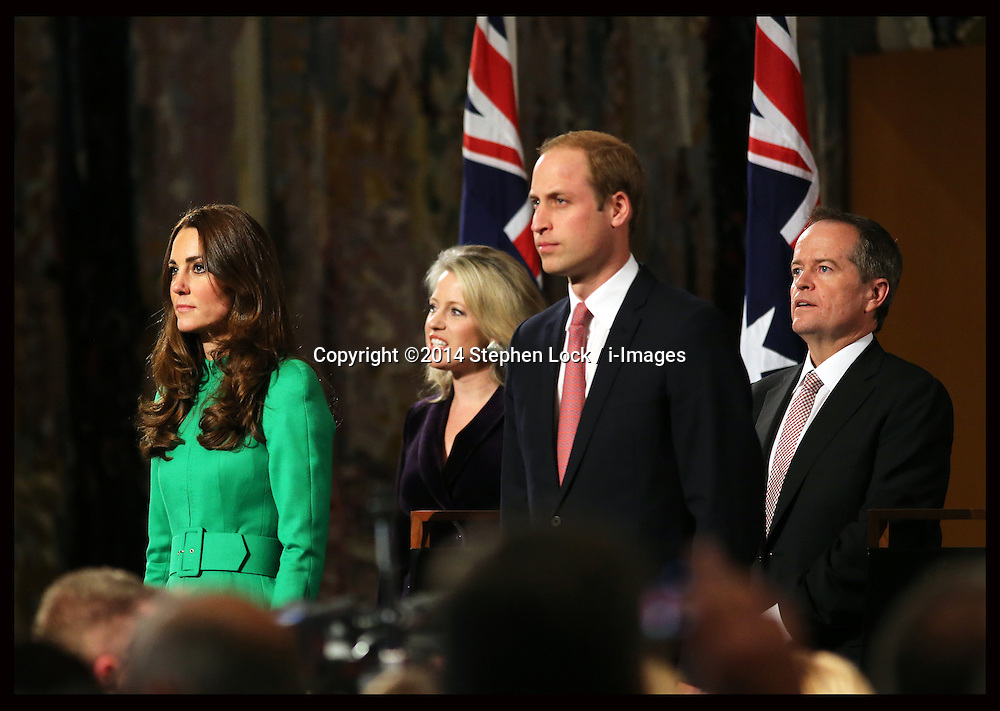 The Duke and Duchess of Cambridge at The Prime Minister's Reception in the Great Hall of Parliament House, Canberra, Australia, Wednesday, 23rd April 2014. Picture by Stephen Lock / i-Images