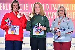 From left to right Eva Datinkska, CZE, Silver Medal, Noelle Lenihan, IRE, Gold Medal, Ingrida Priede, LAT, Bronze Medal, F38 Discus Medal Ceremony at the Berlin 2018 World Para Athletics European Championships