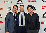 Director Rhys Thomas, left, screenwriter Colin Jost, center, and actor Graham Phillips, who plays a character based on Jost as a teenager, celebrate the premiere of the movie Staten Island Summer at Sunshine Cinema, Tuesday, July 21, 2015, in New York.  The new comedy debuts on Netflix on July 30, 2015 and is available for Digital download. (Photo by Diane Bondareff/Invision for Paramount Pictures/AP Images)