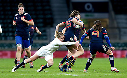 Danielle Waterman of England tackles Jessy Tremouliere of France Women - Mandatory by-line: Robbie Stephenson/JMP - 04/02/2017 - RUGBY - Twickenham - London, England - England v France - Women's Six Nations