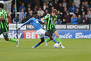 Peterborough United midfielder Leo Da-Silva-Lopes (18) tackles AFC Wimbledon midfielder Jake Reeves (8) during the EFL League 1 match between Peterborough United and AFC Wimbledon at ABAX Stadium, London Road, Peterborough, England on 22 October 2016. Photo by Stuart Butcher.