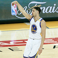 12 June 2017: Golden State Warriors guard Klay Thompson (11) is seen during the Golden State Warriors 129-120 victory over the Cleveland Cavaliers, in game 5 of the 2017 NBA Finals, at the Oracle Arena, Oakland, California, USA.