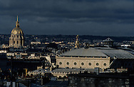 France. Paris. elevated view.The invalides, chatelet theater.  view from the Les Billettes church and cloister.bell tower
