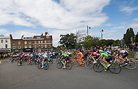 A view of the peloton as they cross Hampton Court Bridge and head towards East Molesey in the Prudential RideLondon-Surrey Classic 30/07/2017<br /> <br /> Photo: Dave Shopland/Silverhub for Prudential RideLondon<br /> <br /> Prudential RideLondon is the world's greatest festival of cycling, involving 100,000+ cyclists – from Olympic champions to a free family fun ride - riding in events over closed roads in London and Surrey over the weekend of 28th to 30th July 2017. <br /> <br /> See www.PrudentialRideLondon.co.uk for more.<br /> <br /> For further information: media@londonmarathonevents.co.uk