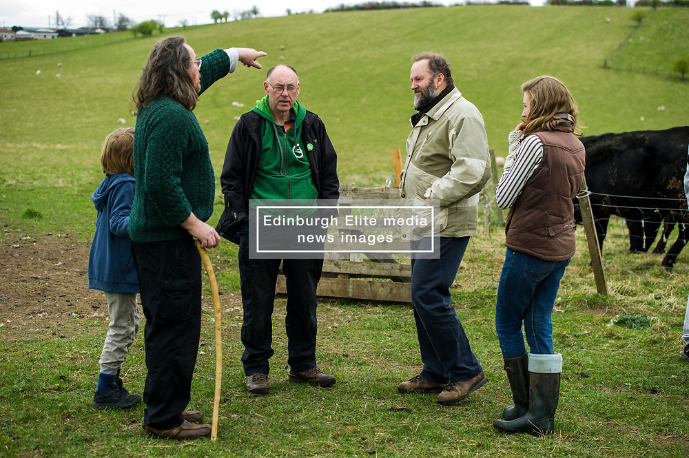 Pictured: Mark Turner from Roslin lets Ian Baxter know his feelings on the proposal<br /> <br /> The Scottish Green Party's Andy Wightman, MSP, joined local election candidate Ian Baxter at the proposed site of a new film studio in Edinburgh ahead of the local council elections.<br /> Ger Harley | EEm 17 April 2017